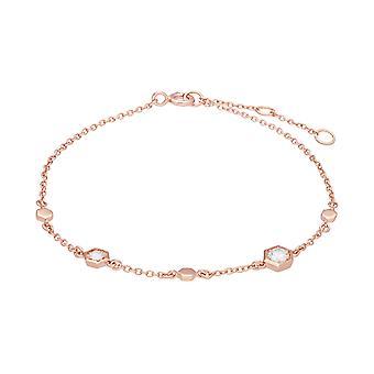 Pulsera de enlace de zafiro transparente inspirada en panal en oro rosado de 9 qt 135L0303019