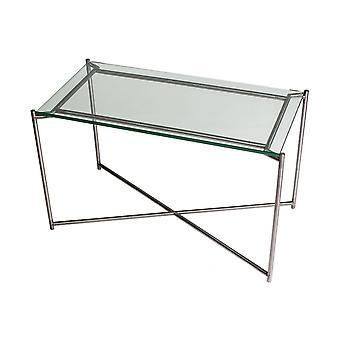 Gillmore Clear Glazen rechthoekige bijzettafel met Gun Metal Cross Base