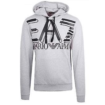 EA7 Grey Print Logo Hooded Sweatshirt