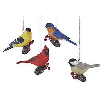 Pinecone Birds Cardinal Finch Blue Bird Chickadee Christmas Ornaments Set of 4