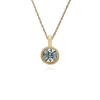 Classic Single Stone Round Aquamarine Milgrain Pendant Necklace in 9ct Yellow Gold 135P1873099