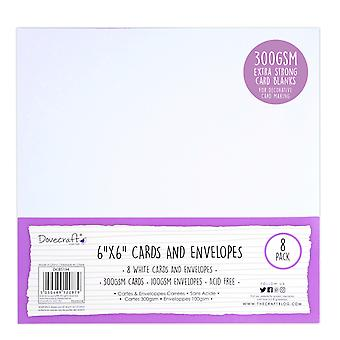 Cartes et cartes 6x6 pouces Dovecraft White 6x6 Inch; Enveloppes