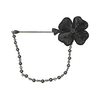 Dolce & Gabbana Klapa Pin Szary Srebrny Miedziany Bulion Kryształowy Kwiat Broszka -- SMY5410736