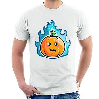 Blue Flaming Cute Pumpkin Kawaii Men's T-Shirt
