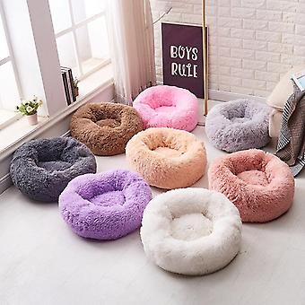 Washable Soft Winter Plush Round Shape Sleeping Bed Cushion For Cat Dog Puppy