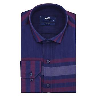 Burgund gestreift marine blau Männer's Shirt | Wessi
