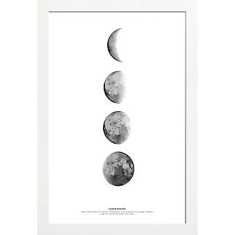 JUNIQE Print -  Phases of the Moon - Astronomie & Weltraum Poster in Schwarz & Weiß