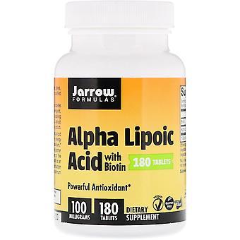 Formules Jarrow, Acide alpha lipoïque à la biotine, 100 mg, 180 comprimés