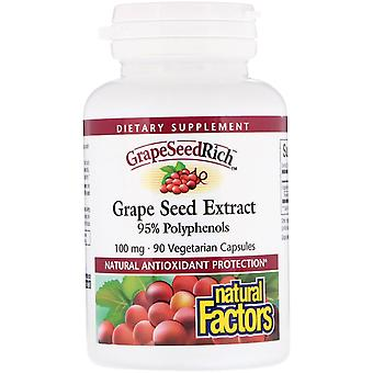 Natural Factors, GrapeSeedRich, Grape Seed Extract, 100 mg, 90 Vegetarian Capsul