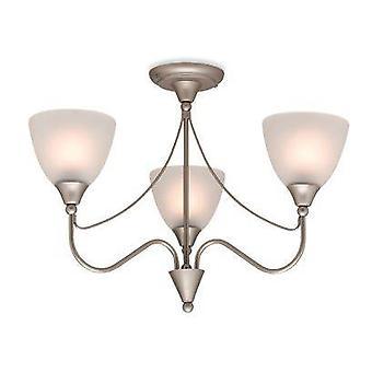 Firstlight Santana - 3 lys flush multi arm taklampe sateng stål, Opal Glass, E14