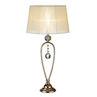 1 Light Crystal Table Lamp Gold with Tapered Shade, E14