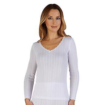 Slenderella UW403 Women's White Brushed Cotton Thermal Long Sleeve Top