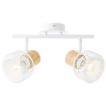 BRILLIANT lamppu Gabby pisteputki 2flg valkoinen / puu kirkas   2x D45, E14, 28W, sopii pudotuslamppuihin (ei sisälly pakkaukseen)   Mittakaavassa