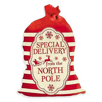Large Calico Special Delivery From North Pole Nordic Santa Sack