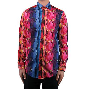 Multicolour Abstract Leaf Print Shirt