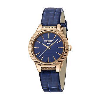 Ferre Milano Women's FM1L114L0031 Rose-Gold IP Steel Blue Leather Wristwatch