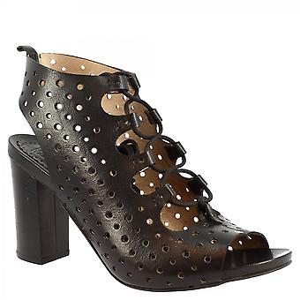 Leonardo Schuhe Frauen's handgemachte Sandalen mit Heel in schwarz offenem Kalbsleder mit Schnürsenkeln