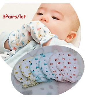 3 Pairs Cute Cartoon Baby Infant Boys / Girls Anti Scratch Mittens Soft Baby Gloves (3 Pc Lot)