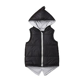 Baby Girl Boy Dinosaur Vest Down Hooded Zipper Jacket - Winter Thick Warm Outwear