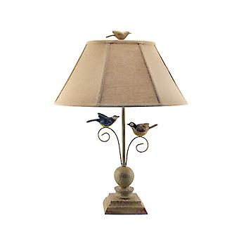 Cheerful Taupe Base Table Lamp with 3D Colorful Birds