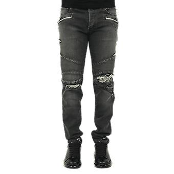 Balmain Ribbed Tapered Jeans-Natural U Black UH05428Z0500PA Pants