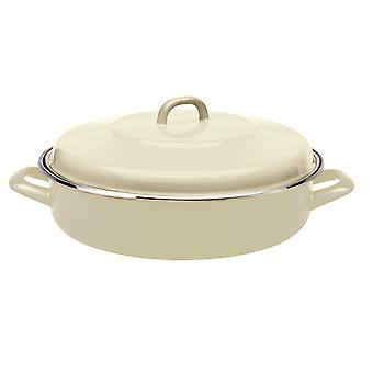 Home Cook Non-Stick Shallow Casserole Enamel/ Steel Cream 26cm HH0302