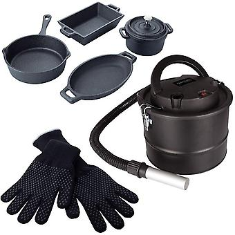 Alfresco dining stove accessory bundle (includes 4-piece cast iron cookware set, heat resistant gloves and ash vac)