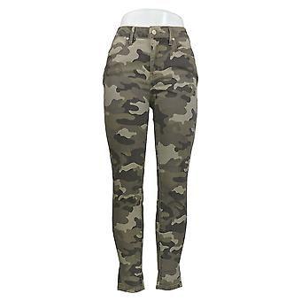 Colleen Lopez Women's Jeans Green Camo Print Slim Cotton 711-540
