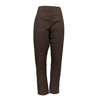Motto Women's Plus Pants Brown Pull-on Ankle Zipper Cotton 616-445