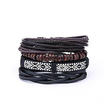 Vintage Men's Multilayer Bracelets en cuir Boho Geometric Pattern Rock Wood Bead