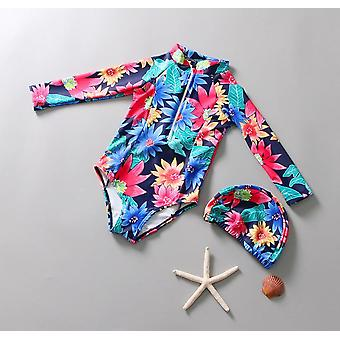 Baby One Piece Swimwear Kids Rash Guard Flowers Pattern Child Surfing Suit,