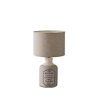 Lampe de table en céramique avec ombre de tissu, beige, E27