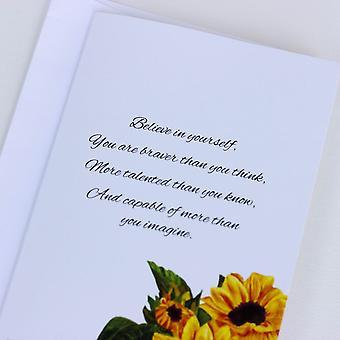 Smuk solsikkekort tro på dig selv Sæt af 6 Charity Cards