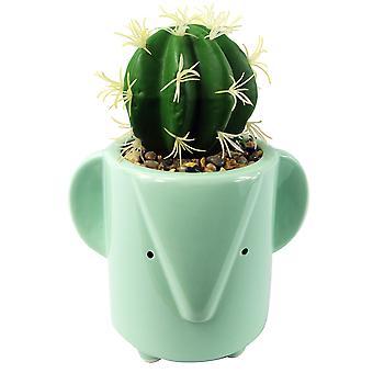 Plantador de elefante azul de cerámica de 19 cm con planta de cactus artificial