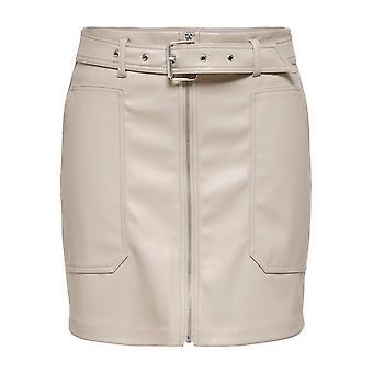 JDY Ženy Faux kožená sukňa JDYALASKA Biker Zips potiahnuté Mini s opaskom