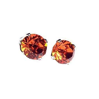Sterling Silver Unisex Studs Earrings 2 Carat Swarovski Crystal - Hyacinth Orange