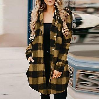 Autumn Sexy Plaid Print Long Cardigan Jacket