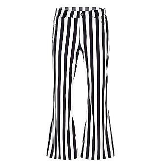 Mens Striped Stretch Bell Bottom Super Flares Long Pants Trousers