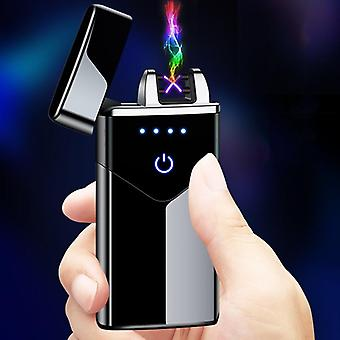 New Dual Arc Usb Lighter Rechargeable Electronic Led Screen Plasma Power