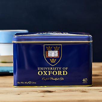 University of oxford tea tin with 40 english breakfast teabags
