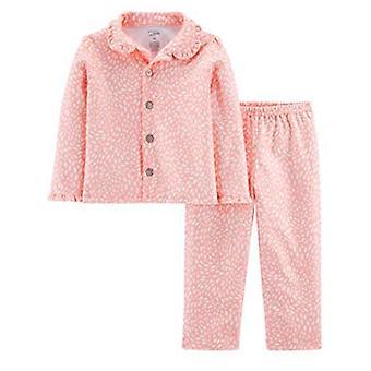 Simple Joys by Carter's Girls' Toddler 2-Piece Coat Style Pajama Set, Pink Do...