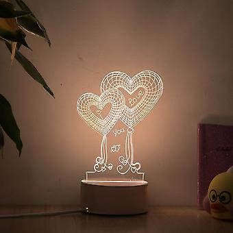 Romantic Love Lamp, Acrylic Night Decorative Table Bulb