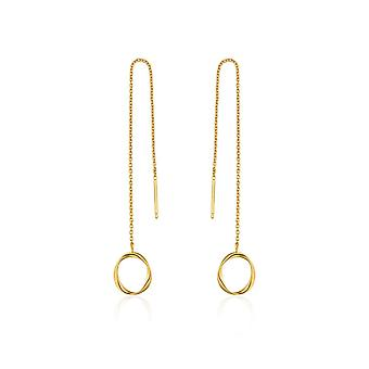 Ania Haie Sterling Silver Shiny Gold Plated Swirl Threader Earrings E015-03G
