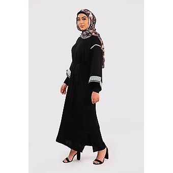 Kaftan reina long sleeve embroidered round neck maxi gandoura dress abaya in black