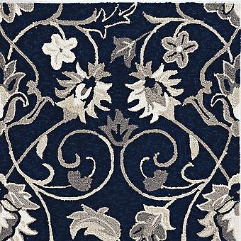 3'x5' Navy Blue Hand Hooked UV Treated Traditional Floral Design Indoor Outdoor Rug