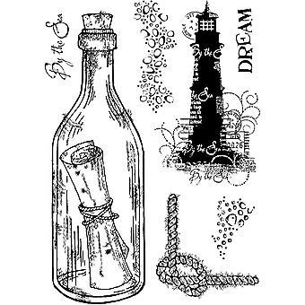 Holzgeschirr klar Singles Nachricht in einer Flasche 4 in x 6 in Stempel