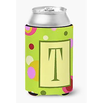 Ersten Buchstaben T Monogramm - grüne Dose oder Flasche Getränk Isolator Hugger