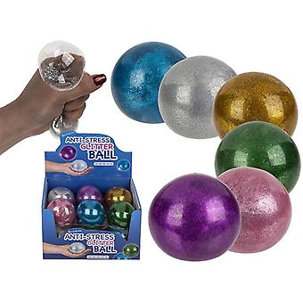 3-Pack Stress Relax Squeeze Glitter Boll Fidget Toy 7cm