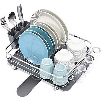 Kingrack Stainless Steel Dish Rack, Anti-Rust Dish Drainer with 360 Rotating Spout, Large Capacity