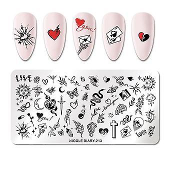 Floral Nail Art Diseño Stamping Plantilla De Uñas Sello de Uñas